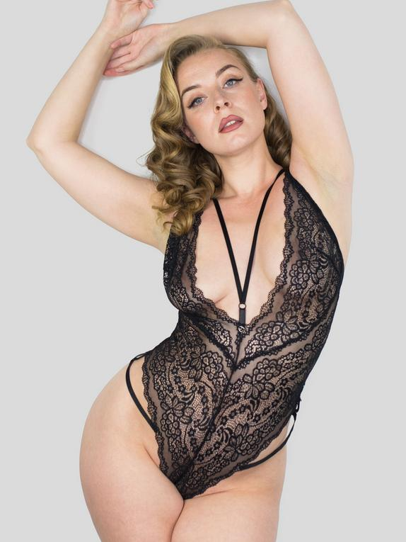 Lovehoney Late Night Liaison Blue Crotchless Lace Teddy, Black, hi-res