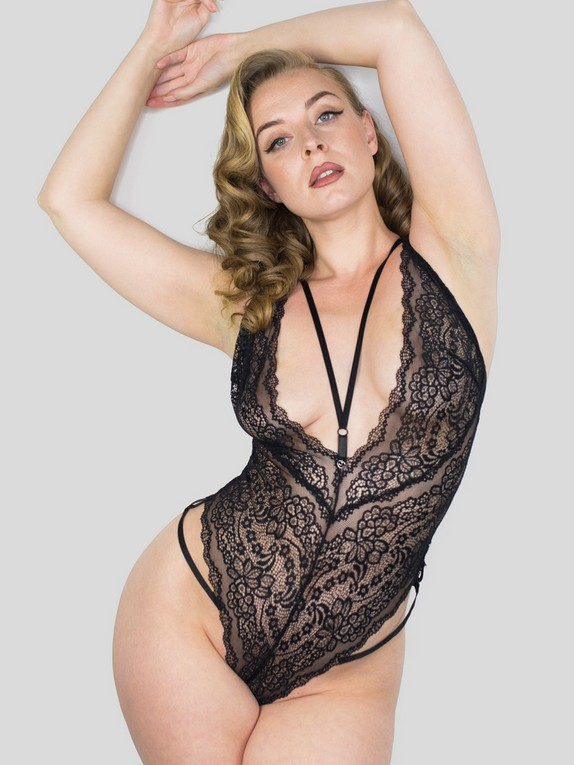 Lovehoney Late Night Liaison Blue Crotchless Lace Body, Black, hi-res