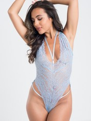 Lovehoney Late Night Liaison Blue Crotchless Lace Body, Grey, hi-res