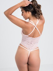 Lovehoney Late Night Liaison Blue Crotchless Lace Teddy, Pink, hi-res