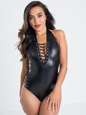 Lovehoney Fierce Leather-Look Lace-Up Body 	, Black, hi-res