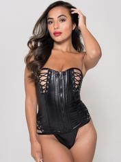 Lovehoney Fierce Leather-Look Lace-Up Bustier Set, Black, hi-res