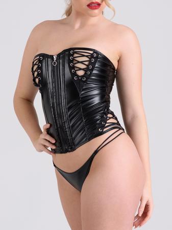 Lovehoney Fierce Leather-Look Lace-Up Bustier Set
