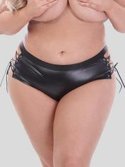 Lovehoney Fierce Leather-Look Lace-Up Crotchless Shorts, Black, hi-res