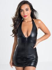 Lovehoney Fierce Leather-Look Lace-Up Dress, Black, hi-res