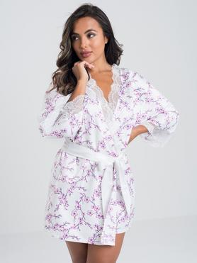 Lovehoney Cherry Blossom Ivory Satin Robe