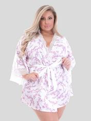 Lovehoney Cherry Blossom Ivory Satin Robe, White, hi-res