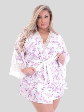 Lovehoney Plus Size Cherry Blossom Ivory Satin Robe