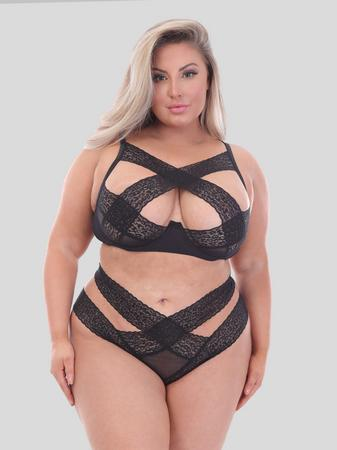 Lovehoney Plus Size Wild Desire Black Leopard Lace Bra Set