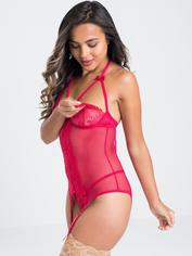 Lovehoney Hot Romance Pink Lace and Fishnet Basque Set, Pink, hi-res