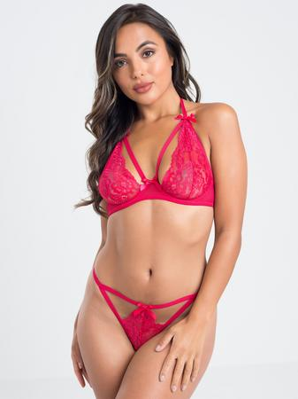 Lovehoney Hot Romance Pink Lace and Fishnet Bra Set