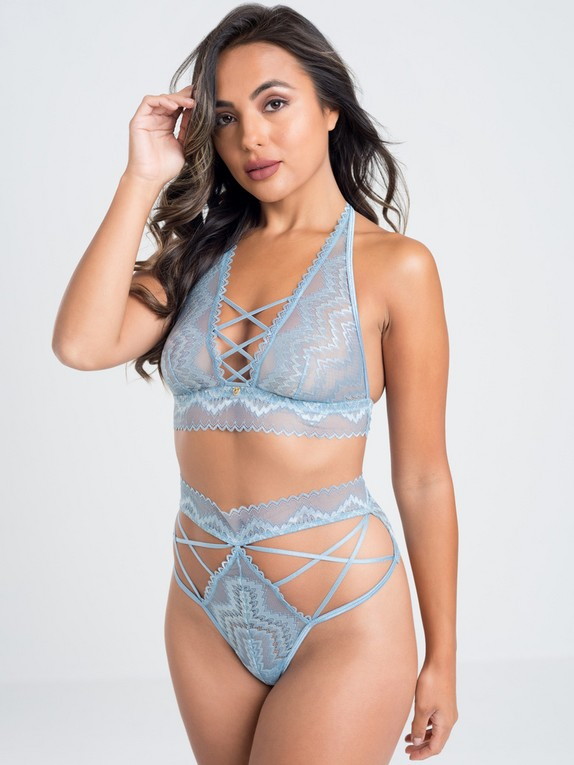 Lovehoney Serenity Blue Lace Bra Set, Blue, hi-res
