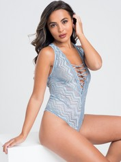 Lovehoney Serenity Blue Lace Plunge Teddy, Blue, hi-res