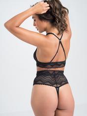 Lovehoney Plus Size Serenity Black Lace Bra Set, Black, hi-res