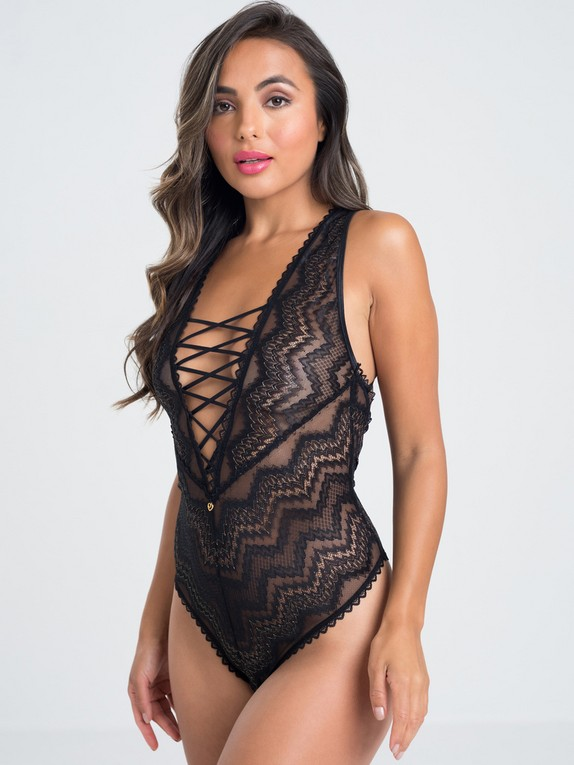 Lovehoney Serenity Blue Lace Plunge Body, Black, hi-res