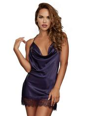 Dreamgirl Silky Cowl Neck Blue Chemise , Blue, hi-res