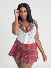 Lovehoney Fantasy Plus Size Red Tartan Skirt Set, Red, hi-res