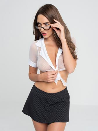 Lovehoney Fantasy Sexy Secretary Top and Pinstripe Skirt Set