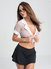 Lovehoney Fantasy Sexy Secretary Top and Pinstripe Skirt Set, Black, hi-res