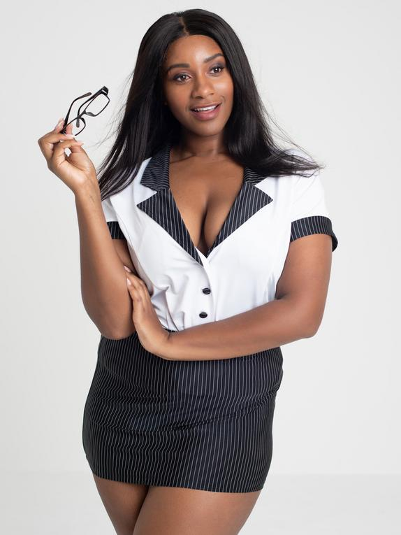 Lovehoney Fantasy Plus Size Sexy Secretary Top and Pinstripe Skirt Set, Black, hi-res