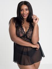 Lovehoney Bombshell Black Lace Babydoll Set , Black, hi-res