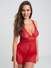 Lovehoney Bombshell Black Lace Babydoll Set , Red, hi-res