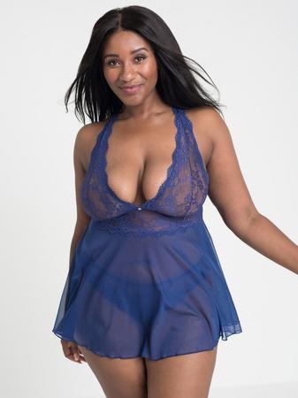 Lovehoney Plus Size Bombshell Blue Lace Babydoll Set