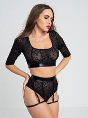 Lovehoney Fierce Serpentine Snakeskin Lace Top Set , Black, hi-res