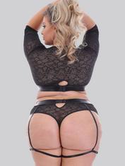 Lovehoney Plus Size Fierce Serpentine Snakeskin Lace Top Set , Black, hi-res