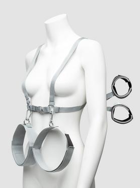 Harnais corporel avec contraintes poignets-cuisses, Silver Seduction