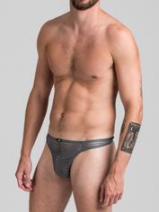 LHM Stripe Mesh Thong for Men, Grey, hi-res