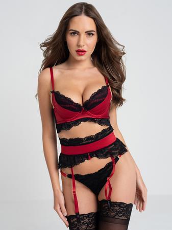 Lovehoney Empress Red Satin and Lace Bra Set