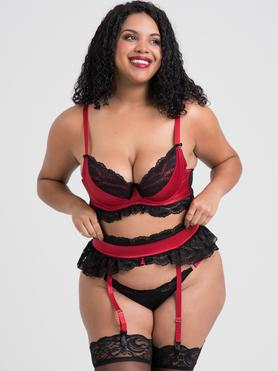 Lovehoney Plus Size Empress Red Satin and Lace Bra Set
