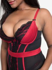 Lovehoney Empress Red Satin and Lace Basque Set, Red, hi-res