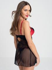Lovehoney Empress Red Satin and Lace Chemise Set, Red, hi-res