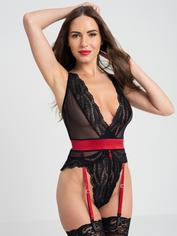 Lovehoney Empress Red Satin and Lace Body, Red, hi-res