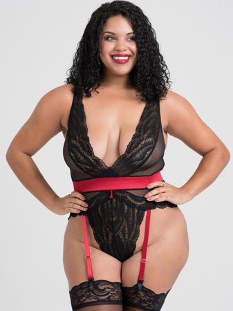 Lovehoney Plus Size Empress Red Satin and Lace Teddy
