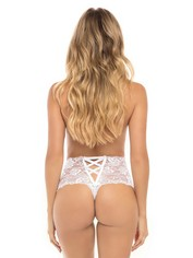 Oh La La Cheri Lace Crotchless Panties, White, hi-res