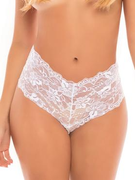 Oh La La Cheri Curves Plus Size White Floral Lace Crotchless Shorts