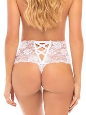 Oh La La Cheri Lace Crotchless Panties, White, hi-res