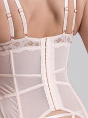 Conjunto de Corpiño Escotado de Encaje Blanco Rosado Parisienne de Lovehoney, Rosa, hi-res