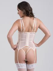 Lovehoney Parisienne Ivory Blush Lace Plunge Basque Set, White, hi-res