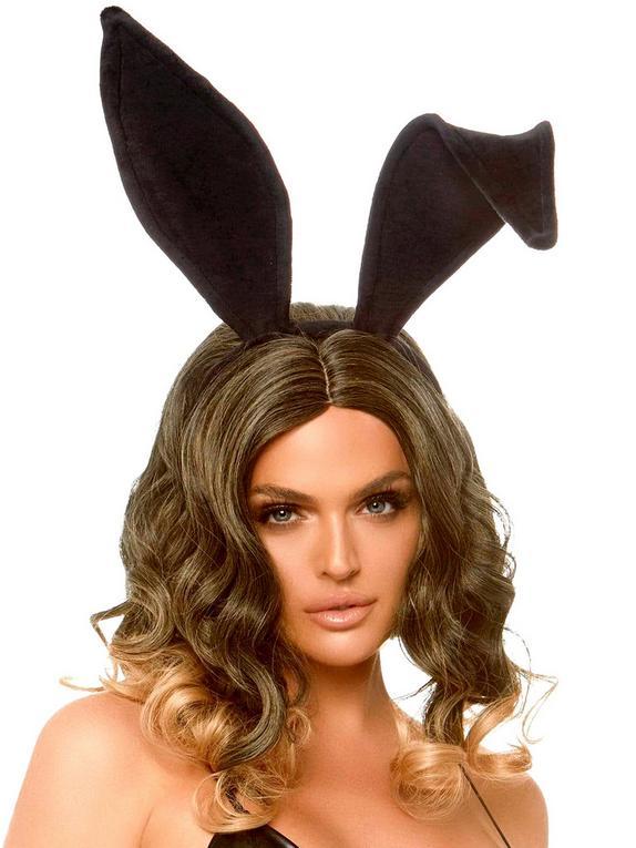 Leg Avenue Velvet Bunny Ears, Black, hi-res