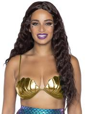 Leg Avenue Gold Mermaid Shell Bra, Gold, hi-res
