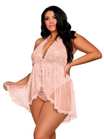 Dreamgirl Plus Size Pink Deep Plunge Lace and Mesh Teddy