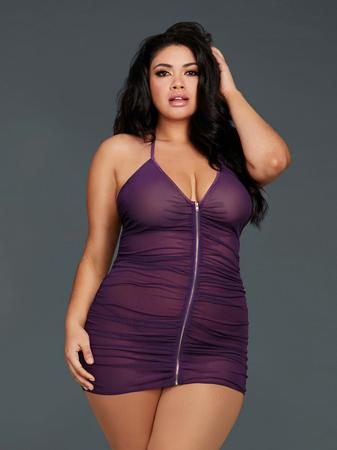 Dreamgirl Plus Size Purple Front Zipper Halterneck Mesh Chemise Set