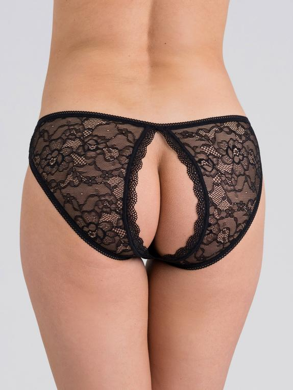 Fifty Shades of Grey Captivate Lace Open-Back Panties, Black, hi-res