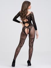 Coquette Darque Wet Look Hold-Ups with Back Zip, Black, hi-res