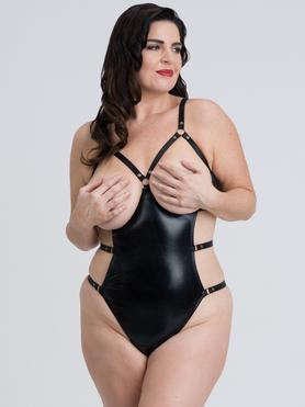 Fifty Shades of Grey Captivate Plus Size Wet Look Open-Cup Crotchless Body
