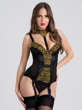 Fifty Shades of Grey Captivate Black and Gold Basque Set